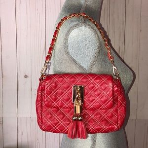 Handbags - Red Quilted Leather Chain Link Purse